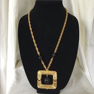 Trina Turk Hinged Statement Square Gold  Necklace
